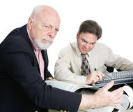 让烦恼的富裕的老人税收法案 免版税库存照片