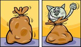 让猫在袋子动画片外面 免版税库存图片