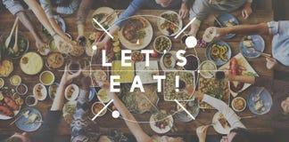 让` s吃食物吃可口党庆祝概念 免版税库存图片