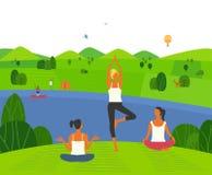训练在自然的女孩瑜伽 向量例证