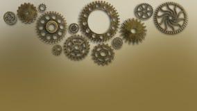 训练老在破旧的技术的嵌齿轮巡回企业解答金属金子的机器新的未来概念背景 免版税库存照片
