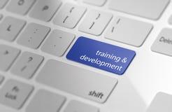训练&发展-在键盘的按钮 库存图片