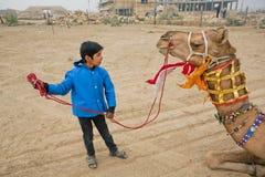 训练一头骆驼激动的男孩 免版税库存图片