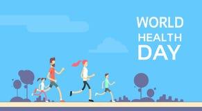 训练世界卫生日的人跑步的体育家庭健身奔跑 免版税库存图片