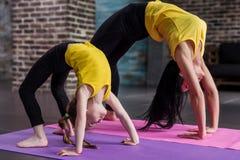 训练儿童女孩的孩子瑜伽女老师站立在解决在时髦的体育演播室的轮子姿势 免版税库存照片