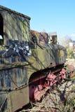 训练公墓,火车坟园,老火车,生锈的老蒸汽火车,生锈的机车,历史老火车 免版税库存图片