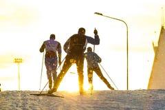 训练滑冰的滑雪 库存图片