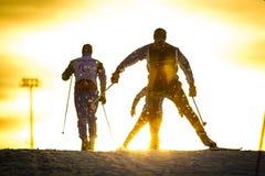 训练滑冰的滑雪 库存照片
