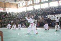 训练和行动Pencak Silat Perisai Diri 免版税库存照片