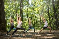 训练在森林里的瑜伽和平衡实习者 免版税图库摄影