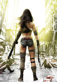 训练天,推进在一位充分地准备的岗位启示无所畏惧的女性的蛇神有被破坏的城市背景 库存照片