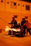 训练安全和知识的消防队员排练 图库摄影