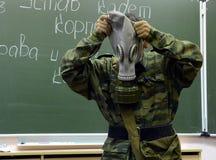 训练投入在防毒面具 免版税库存图片