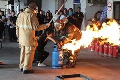 训练2016年10月21日的基本的消防在曼谷,泰国 图库摄影