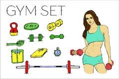 训练的健身妇女 健身房集合 免版税库存图片
