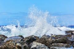 训练的波浪在沿海岩石飞溅 免版税库存照片