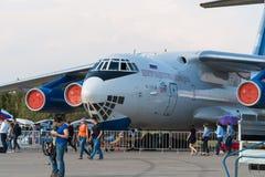训练cosmonau的伊柳申IL-76MDK坦率的运输航空器 免版税库存照片