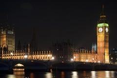 议会、大笨钟和威斯敏斯特桥梁之家在晚上 库存照片