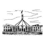 议会在堪培拉,行动,澳大利亚安置 皇族释放例证