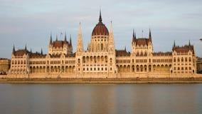 议会在布达佩斯正面图时间间隔安置 股票录像