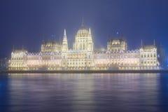 议会在晚上,布达佩斯门面 库存照片