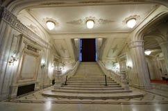 议会大厦内部在布加勒斯特,罗马尼亚 免版税库存图片