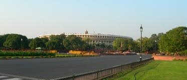 议会大厦区在新德里,印度 免版税库存照片