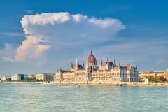 议会大厦在布达佩斯,匈牙利在一个明亮的晴天, 库存图片