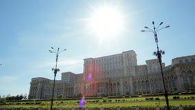 议会大厦的印象深刻的全景在布加勒斯特,罗马尼亚的首都 股票视频