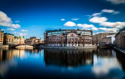议会大厦, Gamla斯坦,斯德哥尔摩,瑞典 免版税库存图片