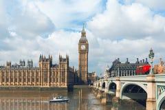 议会大本钟和议院在伦敦,英国 图库摄影