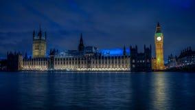 议会大本钟和议院在黄昏的从泰晤士河,伦敦,英国银行  免版税库存照片