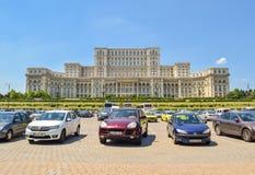 议会宫殿 布加勒斯特结构在严重的天空下 免版税库存图片