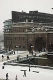 议会斯德哥尔摩冬天 库存照片