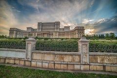 议会的宫殿在布加勒斯特,罗马尼亚 图库摄影