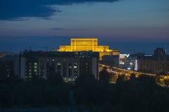 议会议院的鸟瞰图在布加勒斯特 库存照片