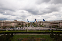 从议会,布加勒斯特的看法 免版税库存照片