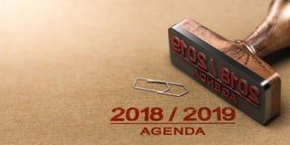 议程或计划2018 2019在被回收的纸背景 免版税库存照片