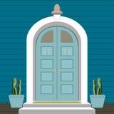 议院与门阶和席子,步,窗口,灯,花,大厦词条门面,外部入口设计例证的门前面 向量例证