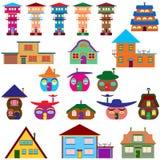 议院动画片设置了-五颜六色的家庭象收藏 免版税库存图片