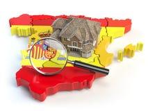 议院和寸镜在西班牙的地图西班牙旗子的颜色的 S 免版税库存图片