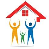 议院和愉快的家庭商标 免版税图库摄影