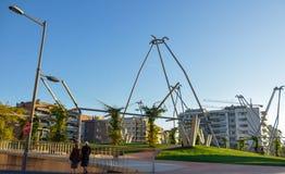 议院和现代公园在卡塔龙尼亚的西班牙莱里达省市 免版税库存图片