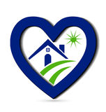议院和蓝色心脏设计 免版税图库摄影