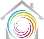 议院和螺旋在彩虹颜色、画家和幼儿园商标 库存例证