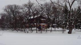 议院在一个多雪的冬天森林里 免版税库存照片
