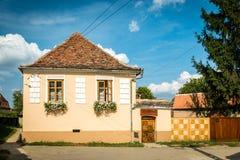 议院在撒克逊人的村庄Biertan在特兰西瓦尼亚,罗马尼亚 免版税库存照片