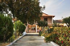 议院在村庄Evzonoi 希腊 免版税库存图片