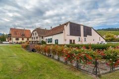 议院在Bergheim,阿尔萨斯的郊区 免版税图库摄影