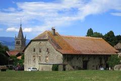 议院在Nernier,上萨瓦省法国中世纪村庄  库存照片